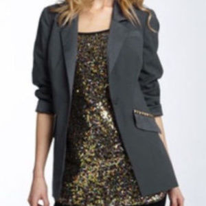 Free People Womens Blazer Gray Blue One Button 0